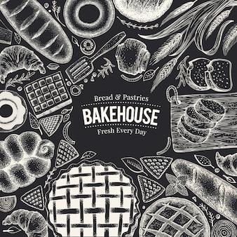 Draufsichtrahmen der bäckerei auf kreidebrett. hand gezeichnete vektorillustration mit brot und gebäck