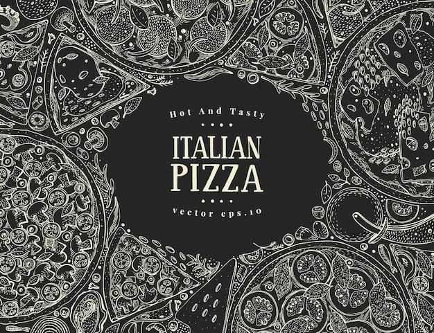 Draufsichtrahmen der italienischen pizza des vektors auf kreidebrett.