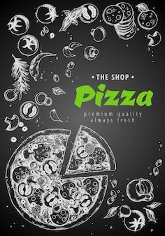 Draufsichtrahmen der italienischen pizza.