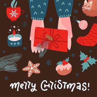 Draufsichtszene von zwei händen, die geschenkbox mit rotem band und blumendekoration halten.