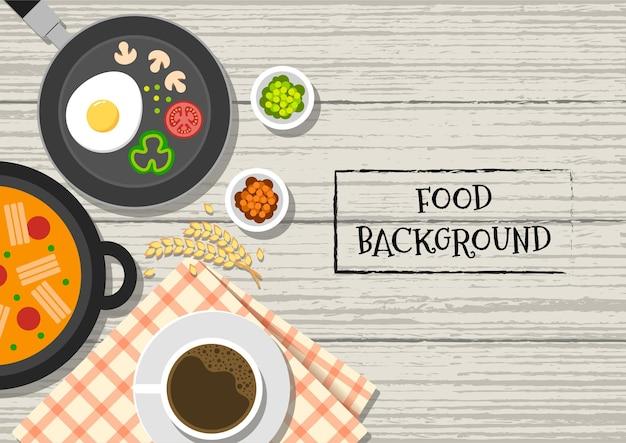 Draufsichtvektorillustration des frühstücks mit suppenkaffee und -mahlzeit