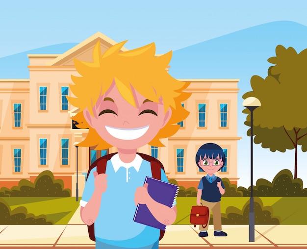 Draußen bauen jungen schüler zurück in die schule