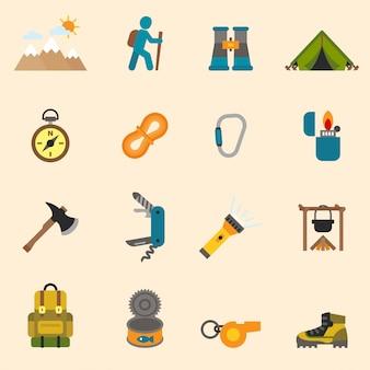 Draußen tourism camping set design flache symbole gesetzt.