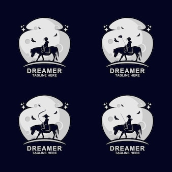 Dreamer reitpferd logo auf dem mond