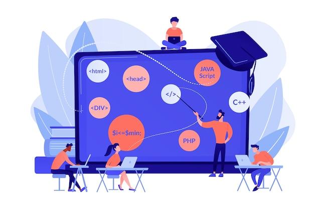 Drehbuchschreiben, softwareentwicklung. codierungsworkshop, codeerstellungsworkshop, online-programmierkurs, konzept für die entwicklung von apps und spielen. isolierte illustration des rosa korallenblauvektors