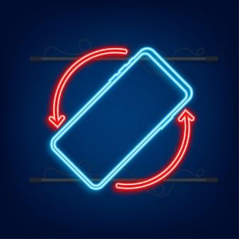 Drehen sie das isolierte symbol des smartphones. neon-symbol. symbol für die geräterotation. schalten sie ihr gerät um. vektor-illustration.