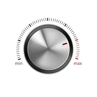 Drehknopf elektronische ausrüstung steuerteil vector. min- und max-schallpegelregler mit kreisförmiger verarbeitung. von der minimalen bis zur maximalen skalierungsvorlage realistische 3d-illustration