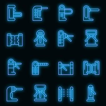 Drehkreuz-symbole gesetzt. umrisse von drehkreuzvektorsymbolen neonfarbe auf schwarz