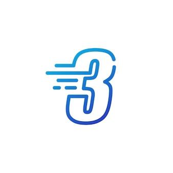 Drei 3 nummernstrich schnelle schnelle digitale markierungslinie umriss logo vektor icon illustration