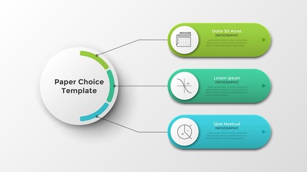 Drei abgerundete elemente, die durch linien mit dem weißen hauptkreis des papiers verbunden sind. moderne infografik-design-vorlage. realistische vektorgrafik zur visualisierung von 3 funktionen oder optionen des geschäftsprojekts.