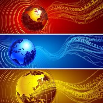 Drei abstrakte banner mit globus und binären wellen