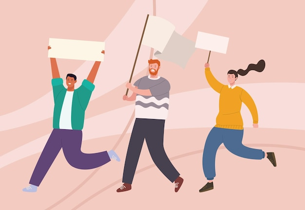 Drei aktivisten charaktere