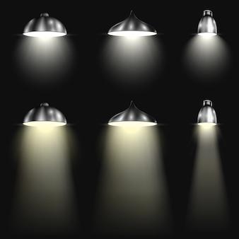 Drei arten scheinwerfer mit lichtstrahlen