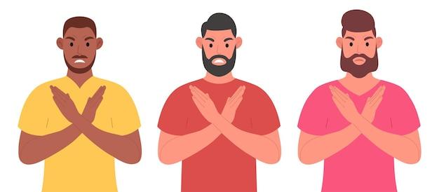 Drei bärtige männer verschiedener nationalitäten, die die arme verschränkt halten. zeichensatz. vektorillustration im cartoon-stil.