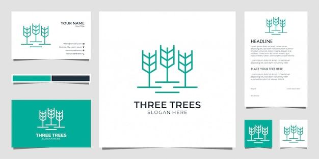 Drei bäume, blatt, natur mit visitenkarte des linienkunstlogodesigns und briefkopf