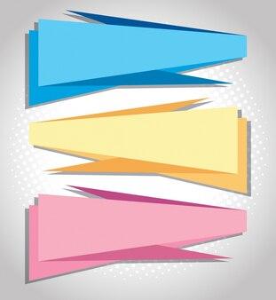 Drei banner in verschiedenen farben
