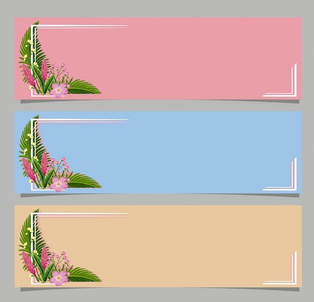 Drei banner mit rosa blumen