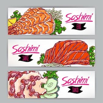 Drei banner mit verschiedenen arten von sashimi. lachs, garnelen und tintenfisch. handgezeichnete illustration