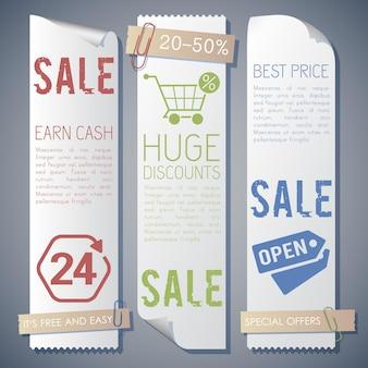 Drei banner setzen zusammensetzung mit informationen über verkauf verdienen geld