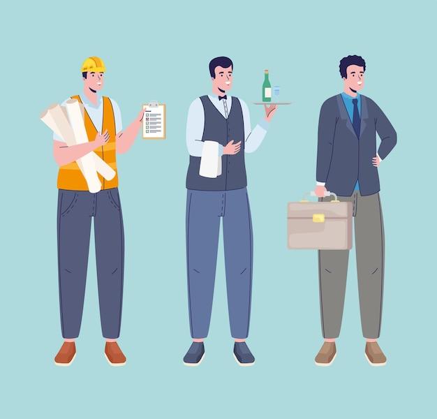 Drei berufe arbeiter charaktere