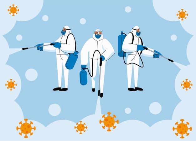 Drei biozafety-mitarbeiter desinfizieren covid19
