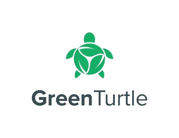 Drei-blatt-rotation und schildkröte einfaches schlankes kreatives geometrisches modernes logo-design