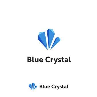 Drei blaue kristalldiamantstein-logo-icon-vorlage