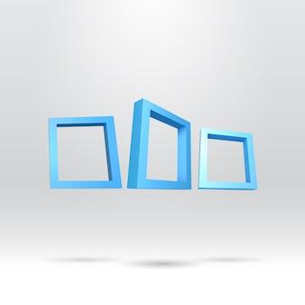 Drei blaue rechteckige 3d-rahmen