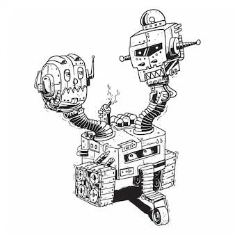 Drei brüder kopf roboter linie kunst handzeichnung