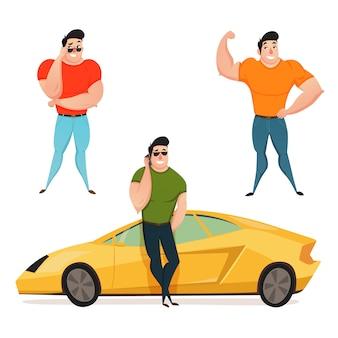 Drei brutaler brunet-macho