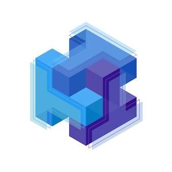 Drei buchstaben, die zu einem würfel-logo-symbol verwoben sind. würfel reihten sich im raum aneinander. konstruktiv aus kubischen formen, struktur verbundener ebenen. erraten der isometrischen form. sechseckige rätselwinkelansicht.