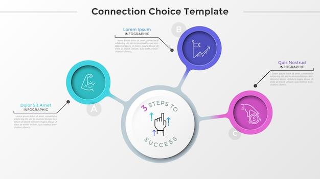 Drei bunte kreise mit dünnen piktogrammen im inneren, die mit dem weißen hauptelement des runden papiers verbunden sind. konzept von 3 dienstleistungen des unternehmens. sauberes infografik-design-layout. vektor-illustration.