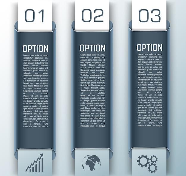 Drei business infografik set