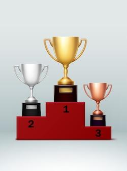 Drei-champion-pokal auf roter treppe mit zahlen