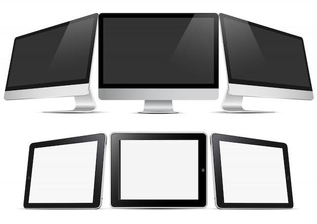 Drei desktop-computer und drei tablets (pc)