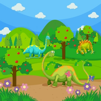 Drei dinosaurier im wald