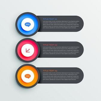 Drei dunkel banner infograph mit symbolen