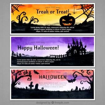 Drei fahnen mit schrecklichen szenen von halloween