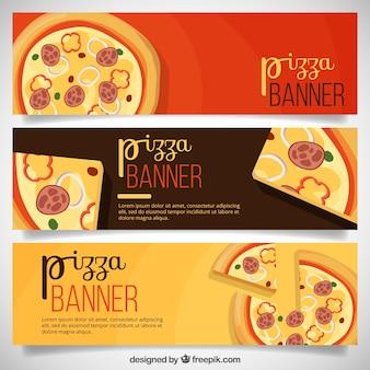 Drei fahnen von pizzen