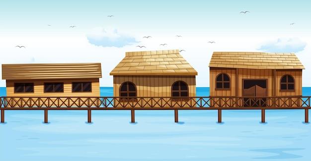 Drei ferienhäuser am wasser