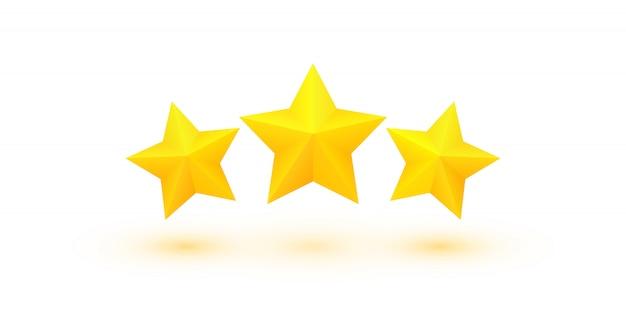 Drei fette goldene sterne mit schatten. ausgezeichnete qualitätsbewertung.