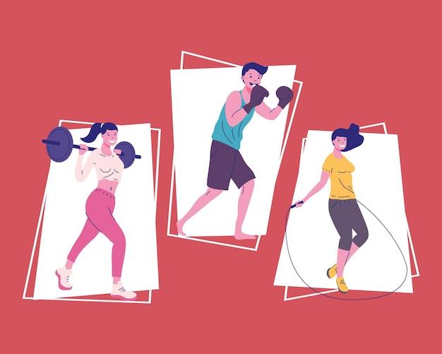 Drei fitness-personen, die sport treiben