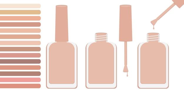 Drei flaschen mit beigem lack, offen und geschlossen. in der nähe befindet sich eine palette mit beigetönen. vektor-illustration