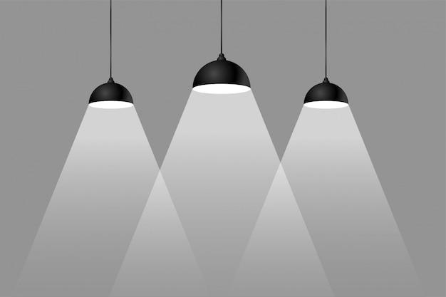 Drei fokusscheinwerfer hintergrund im flachen stil