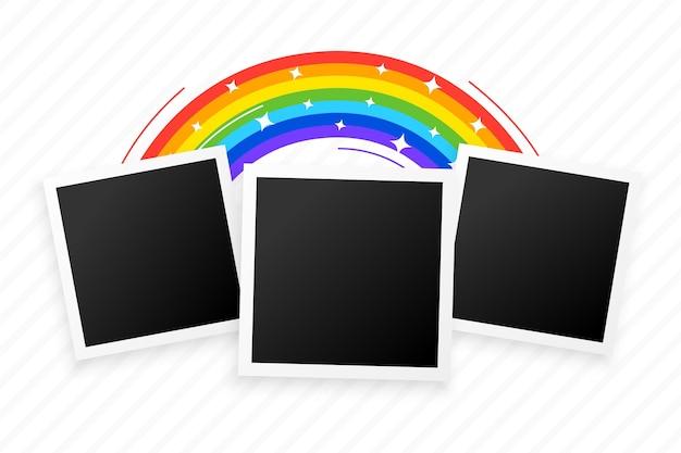 Drei fotorahmen mit regenbogenhintergrundentwurf