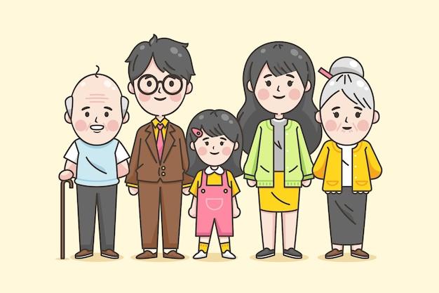 Drei generationen japanischer familie