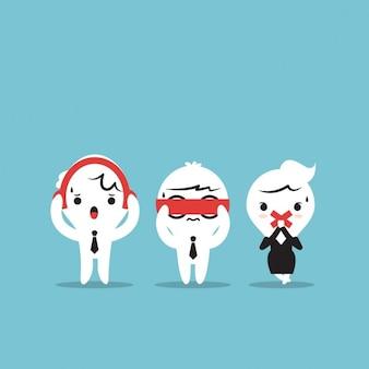 Drei geschäftsleute drei weise affen sehen sie kein übel hören kein übel sprechen sie kein übel