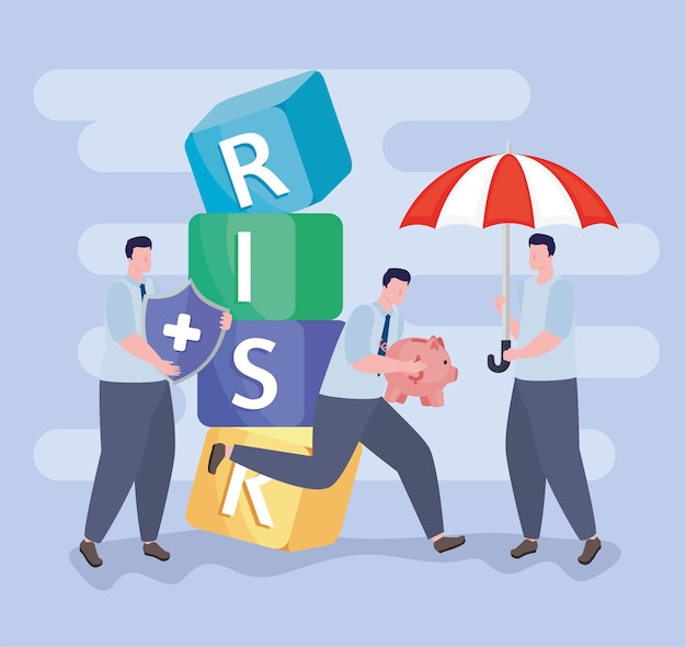 Drei geschäftsmänner und risikomanagementikonen