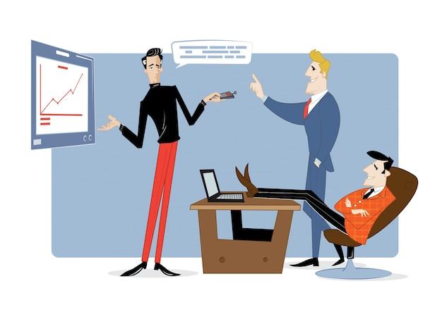 Drei geschäftspartner diskutieren den arbeitsfortschritt. geschäftsvertrag, ideenfinanzierung.
