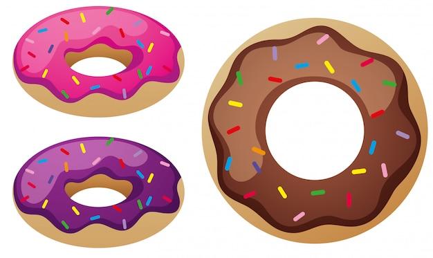 Drei geschmacksrichtungen von donuts